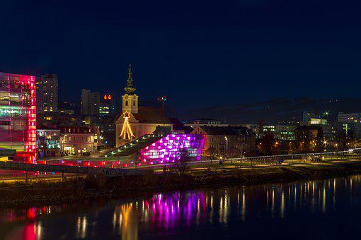 Building, Night, Architecture, River, Danube, Austria