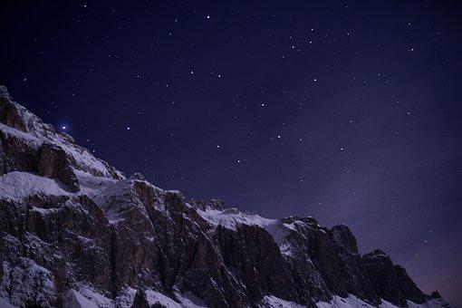 Alpine, Night, Star, Snow, Mountain, Mountains