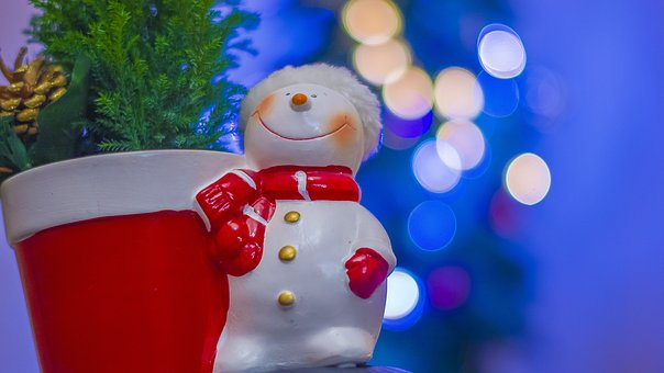 Christmas, Snowman, Ornaments, Christmas Tree, Bokeh