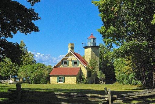 Eagle Bluff Light, Lighthouse, Light, Peninsula, State