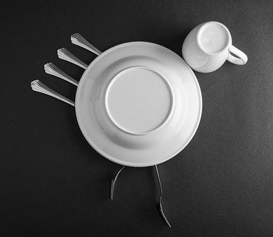 Fine Art, Cutlery, Studio, Fork, Spoon, Plate, Bird