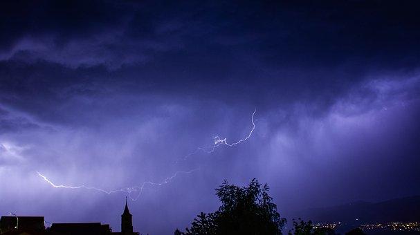 Flash, Storm, Night, Dark, Clouds, Rain, Landscape