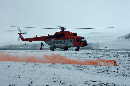 Helicopter, Antarctica, Landing, Rescue, Cold, Ice