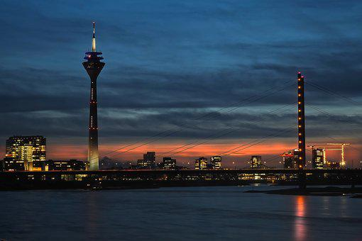 Bridge, Rheinbrücke, Sky, Rhine, Düsseldorf, River