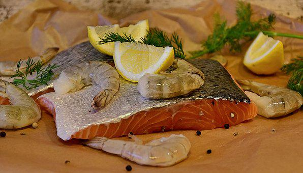 Salmon, Fish, Scampi, Raw, Seafood, Fresh, Shrimp