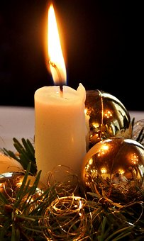 Candle, Decoration, Christmas Ornament, Gold, Shiny