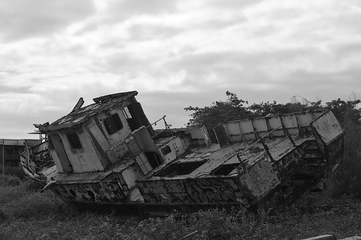 Boat, Old, Galápagos, Black And White, Abandoned, Sky