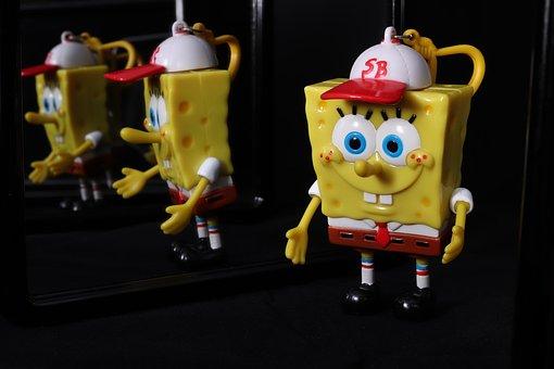Spongebob, Sponge Head, Cap, Sb, Mirror, Mirroring