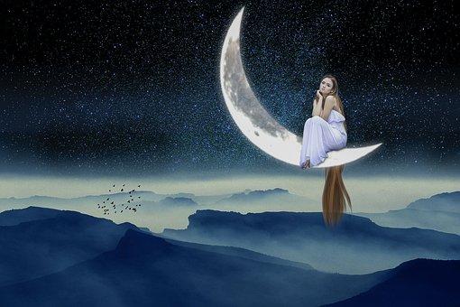 Fantasy, Moon, Woman, Mountain, Stars, Birds