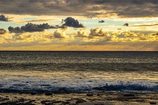 Sunset, Coast, Beach, Landscape, Nature, Sky, Clouds