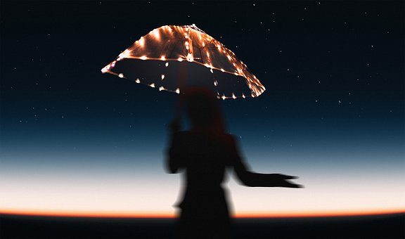 Umbrella, Stars, Dusk, Dawn, Star, Female, Girl, Sunset