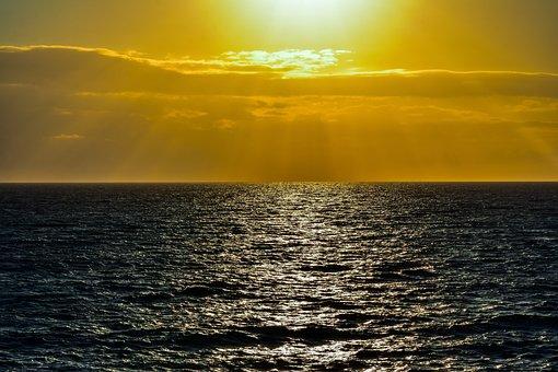 Sunset, Sea, Horizon, Evening, Nature, Landscape, Sky
