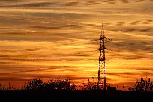 Sunset, Power Pylon, Orange, Colors, Yellow, Background