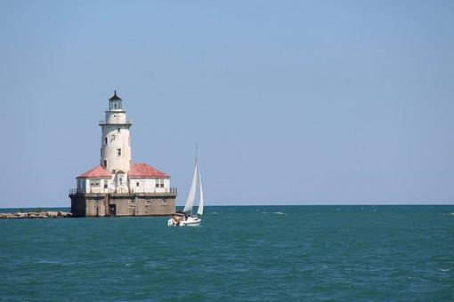 Lake Michigan, Illinois, Water, Lighthouse, Sky
