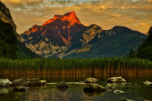 Leopold Steinersee, Lake, Water, Nature, Sunset