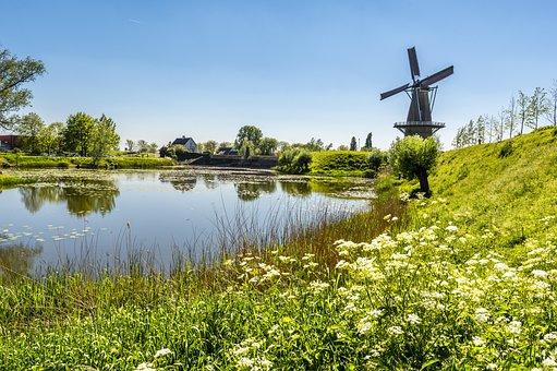 Mill, Water, Flowers, Landscape, Idyllic, Wind Mill