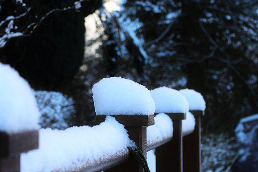Snow, Snow Cover, Snow On Railing, Winter