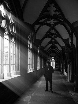 Church, Black And White, Light, Architecture, Dark