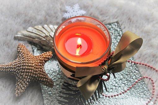 A Postcard, Candles, Decoration, Glow, Parish, Wax