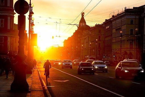 City, Street, Road, Modern, Sunset