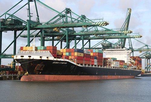 Begium, Antwerp, Harbor, Container, Ship, Cranes