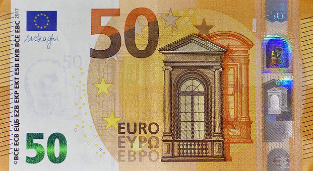 Dollar Bill, 50 Euro, Currency, Paper Money