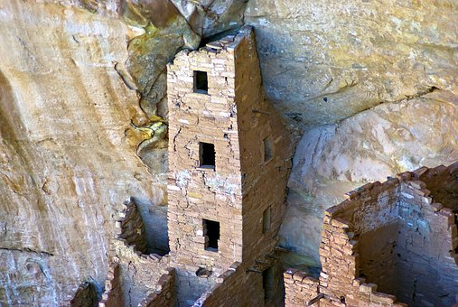 Mesa Verde Square Tower, Cliff, Dwelling, Anasazi, Mesa