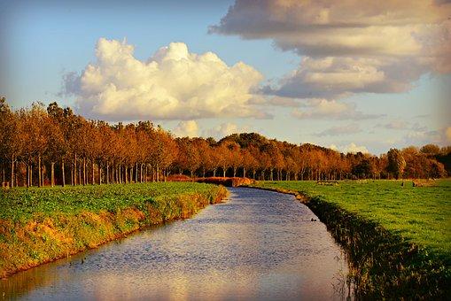 Canal, Waterway, Field, Polder, Dutch Landscape