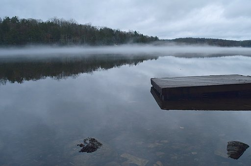Lake, Overcast, Water, Reflection, Mist, Fog, Rock
