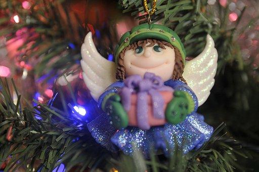 Holidays, Angel, Christmas Tree, Ornament, Decoration
