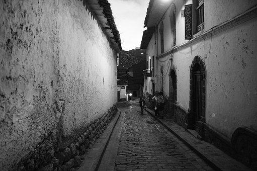 Cusco, Peru, Black And White, Street, Passage, Inca
