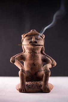 Smoking, Cigar, Indian, Cigarettes, Smoke, Mud, Statue
