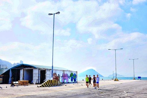 Sport, Running, Kennedy Town, Hong Kong, Asia, Sky