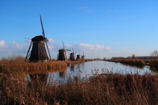 Mills, Kinderdijk, Holland, Netherlands, Windmills