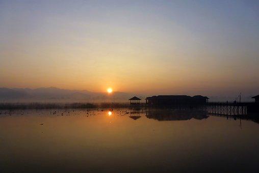 Layer Of The Sun, Burma, Myanmar, Lake, Asia, Water