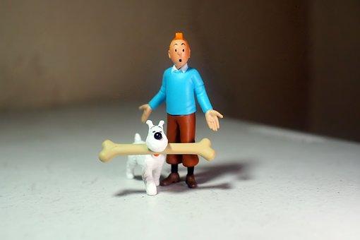 Adult, Man, Male, Dog, Bone, Snowy, Tintin, Anime