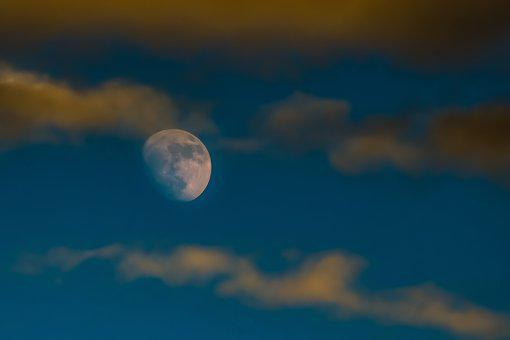 Moon Rising, Sky, Clouds, Afternoon, Nature, Evening