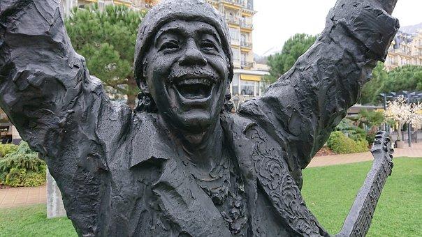Statue, Santana, Musician, Jazz, Festival, Montreux