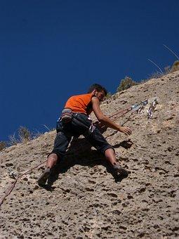 Climber, Escalation, Top, Rock, Rope, Mountain, Nature