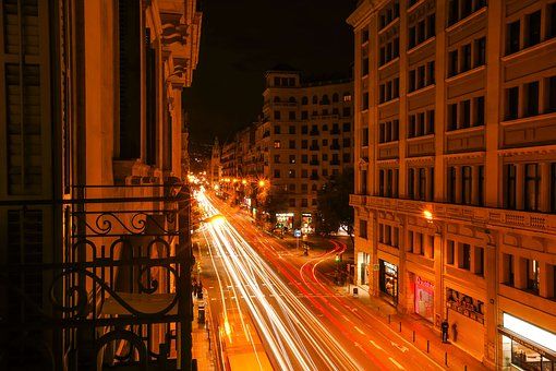 City, In The Evening, Buildings, Night, Barcelona