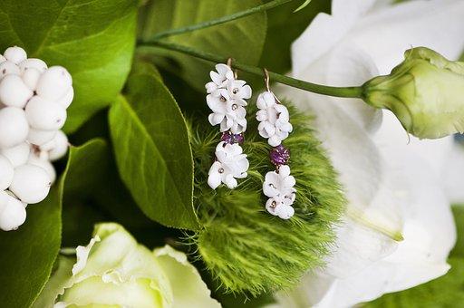 Earrings, Pearl, Spring, Flowers, Greens, Fashion