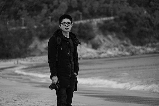 Beach, Photographer, Spray, Portrait