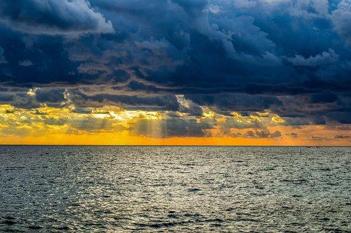 Storm, Stormy Clouds, Horizon, Sunset, Seascape, Nature