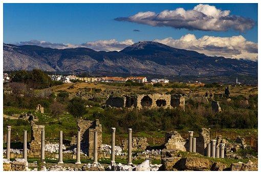 Turkey, Side, Ancient Times, Mountains, Landscape
