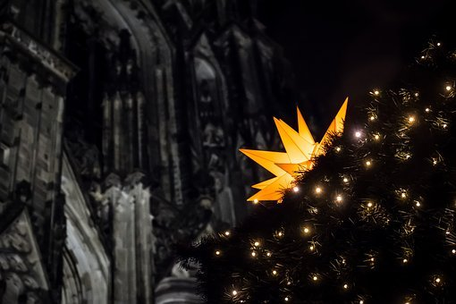 Star, Christmas Market, Church, Lights, Advent