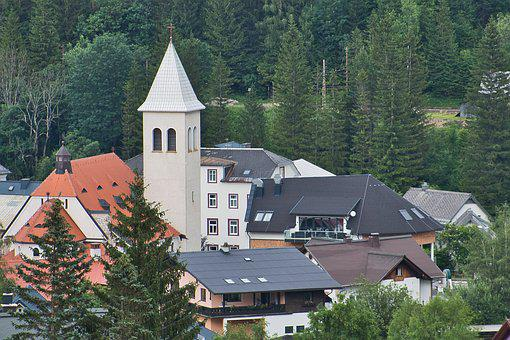 Church, Village, Steeple, Houses, Architecture, Styria