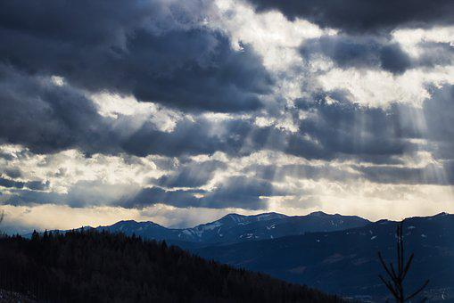 Sunbeam, Mountains, Sky, Landscape, Mood, Nature