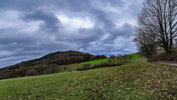 Odenwald, Panorama, Winter, Rain, Thunderstorm