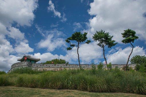 Unesco, Suwon Hwaseong, Castle, The, Korean, Korea, Sky