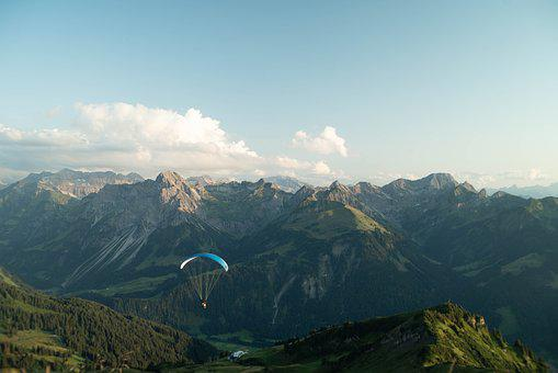 Austria, Mountains, Vacations, Parachute, Paragliding
